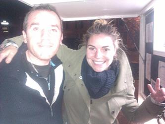 Sophie Tapie avec Marc crêpier ambulant